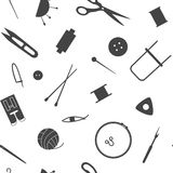 Sewing industry pattern. Tools for needlework, sewing and knitting. Seamless pattern of the sewing industry. Vector illustration stock illustration