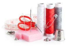 Tools for needlework thread scissors Royalty Free Stock Photos