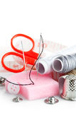 Tools for needlework thread scissors Royalty Free Stock Images