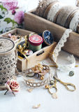 Tools for needlework, thread for sewing, scissors, buttons and v Royalty Free Stock Images