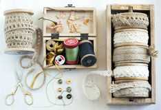Tools for needlework, thread for sewing, scissors, buttons and v Royalty Free Stock Photos