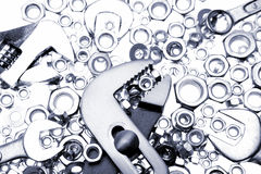 Tools and nuts Royalty Free Stock Images