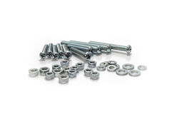 Tools nuts and bolts. Silver metal nuts and bolts Stock Photos