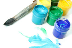 Tools Of The Artist: Paints, Brush And A Paper Stock Photos