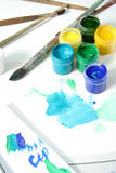 Tools Of The Artist: Paints, Brushes And A Paper Royalty Free Stock Image