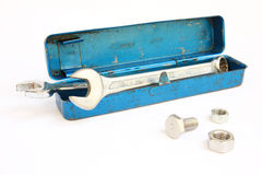 A tools in old blue toolbox Royalty Free Stock Image