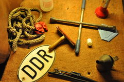 Tools in an old GDR car Royalty Free Stock Images