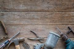 Tools. Old Tools kit Stock Photo