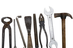 Tools. Old used vintage tools over a white background Royalty Free Stock Photography