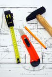 Tools On A Blueprint Stock Photography