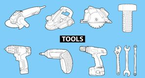 Tools On Blue Royalty Free Stock Photography