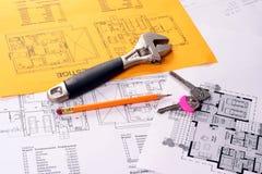 Tools On Blueprints Including Monkey Wrench, Keys Royalty Free Stock Photo