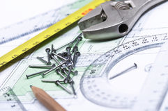 Tools On Top Of A Floor Plan Stock Photography