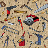 Tools On Wood Pattern Stock Photography