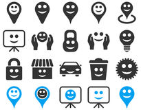 Tools, options, smiles, objects icons Stock Photo