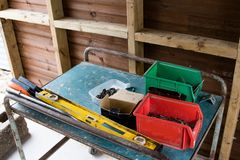 Tools organised in to boxes. DIY and construction tools organised into boxes for use at site royalty free stock photo