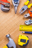 Tools organized in copyspace wrench cutter nippers Royalty Free Stock Photo
