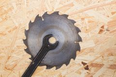 Tools on osb panel with copy space. Carpenter workplace on wooden background. Top view.  royalty free stock image