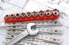 Tools over house plan. For construction or reconstruction Stock Photography