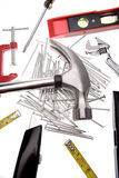 Tools over white stock images