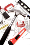 Tools over white Stock Photography