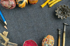 Tools for painting eggs for Easter. Traditional Easter eggs with ornament on Easter, items for making Easter eggs Stock Image