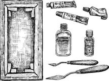 Tools for painting stock illustration