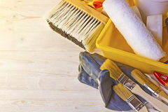 Tools for painting walls and floors Stock Image
