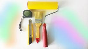Tools for painting on a white background Stock Images