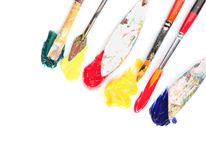 Tools with paints on white background stock photo