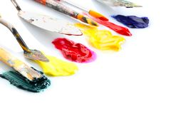 Tools with paints on white background royalty free stock image