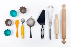 Tools pastry on white background Royalty Free Stock Images