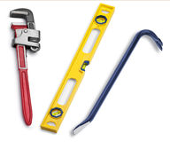 Tools Pipe Wrench Level Royalty Free Stock Photos
