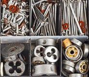 Tools in plastic organizer box Stock Photo