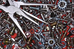 Tools pliers and bolts, screws Stock Photo