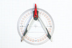 Tools for Plotting compass and protractor. Stock Photo