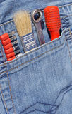 Tools in pocket Stock Photo