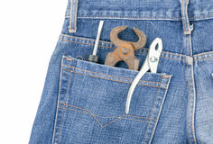 Tools in pocket jeans isolated Stock Photography