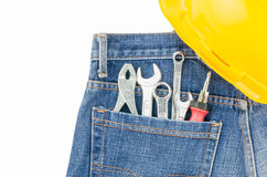 Tools in pocket jeans isolated Stock Photo