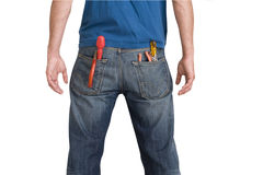Tools in pockets, rear view, cut out Stock Photos