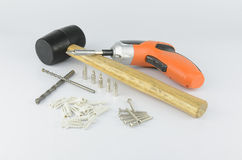 Tools for prepare hanging picture Royalty Free Stock Images