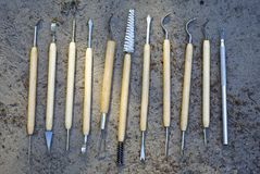 Tools for qualitative cleaning of finds in archeology. Different tools for qualitative cleaning of finds in archeology, paleontology and geology Royalty Free Stock Image