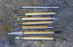 Tools for qualitative cleaning of finds in archeology. Paleontology and geology Royalty Free Stock Photos