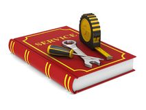 Tools and red service book. Isolated 3D illustration.  Stock Photography