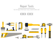 Tools for repair. Construction repair tools flat icon set. Tools like hammer, axe, ruler, hatchet home repair. Isolated tools flat set Stock Photo