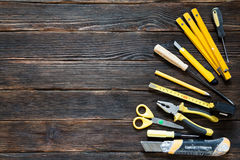 Tools for repair and construction in yellow. Royalty Free Stock Image