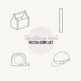 Tools for repair vector icon set. Auxiliary tools vector icon set, saw, rasp Royalty Free Stock Photos