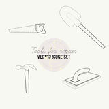 Tools for repair vector icon set. Saw, rasp Stock Photo