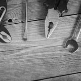 Tools for repair wooden background Stock Image