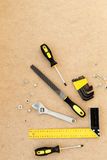 Tools for repairing top view on pasteboard background Royalty Free Stock Photo
